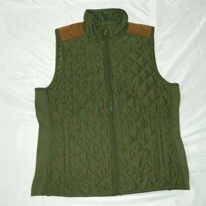 Chaps Womens M Army Green  Diamond Vest